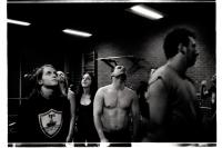Elèves en plein exercice lors d'un entraînement de la B.W.S. (Belgian Wrestling School). Charleroi.